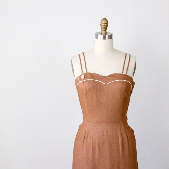 1940's Wiggle Dress Mocha Brown Rayon