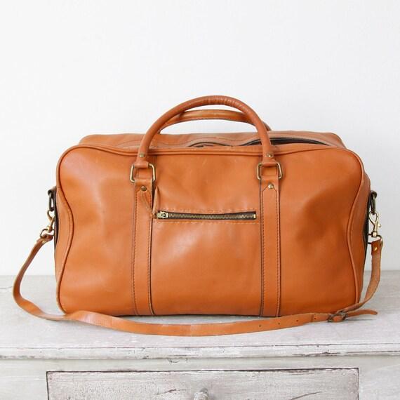 Brown Leather Travel Bag Large Vintage
