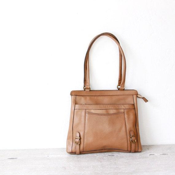 Buckle Front Leather Bag Taupe Shoulder Vintage