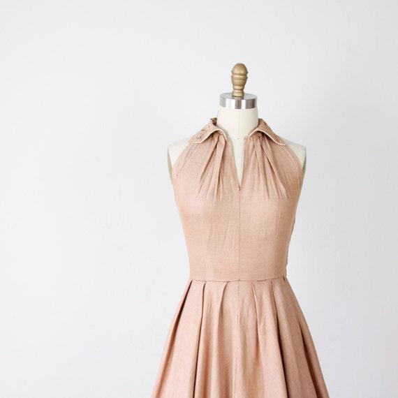 1950's Full Skirt Dress Cafe Au Lait Rhinestone Collar