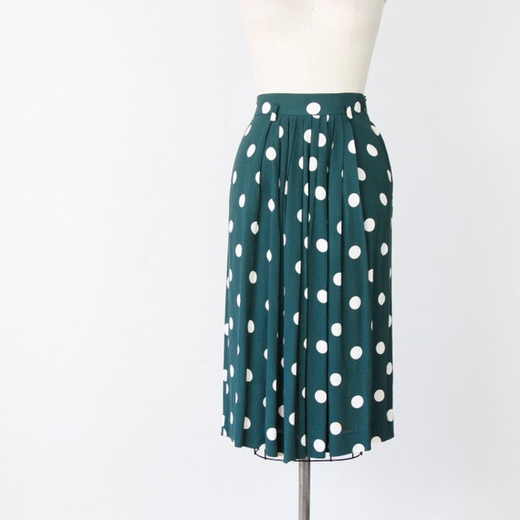 Hunter Green Skirt White Polka Dots