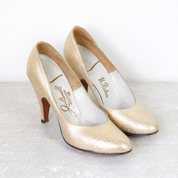 Metallic Gold Leather Heels Speckled White Pumps
