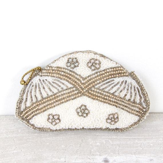 White Silver Beaded Vintage Purse Belgium Wedding Bridal