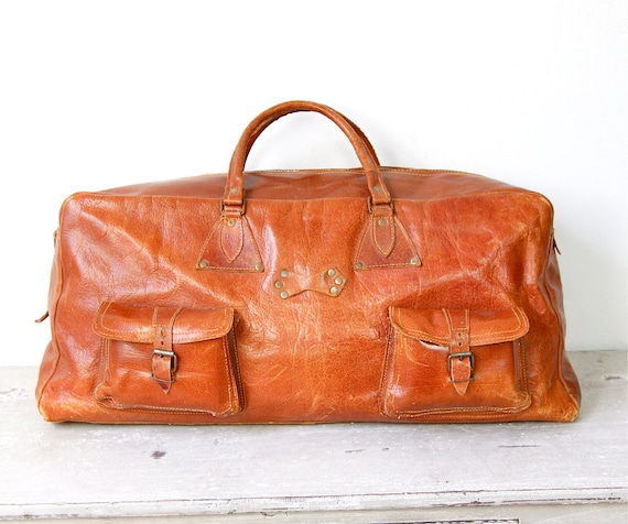 Brown Leather Travel Satchel Bag Large Vintage