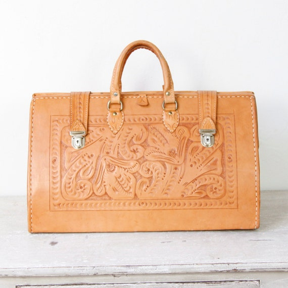 Extra Large Tooled Leather Bag Travel Vintage