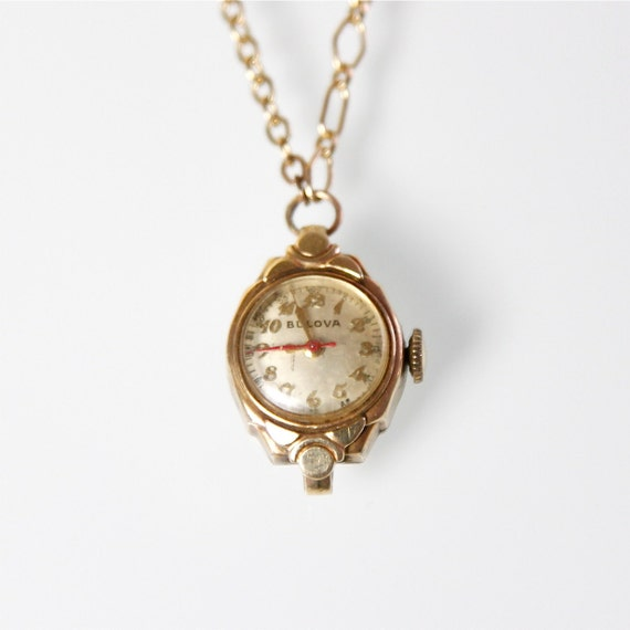 Watch Necklace Gold Filled Small Vintage