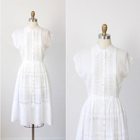 White Eyelet Dress Sheer Cotton Voile 1950s