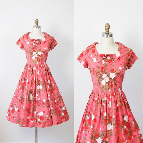Rasberry Sorbet Floral 1950s Dress Full Skirt