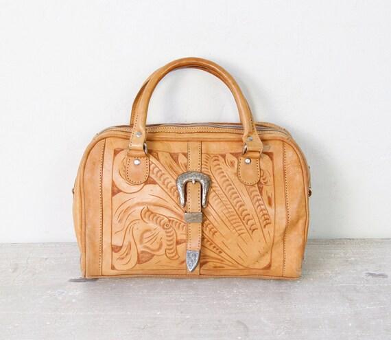 Tooled Leather Satchel Doctor Bag Vintage