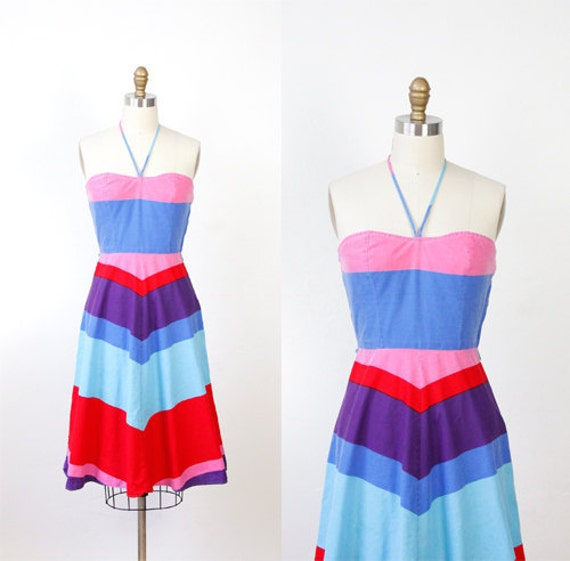 Rainbow Print 1970s Cotton Halter Dress