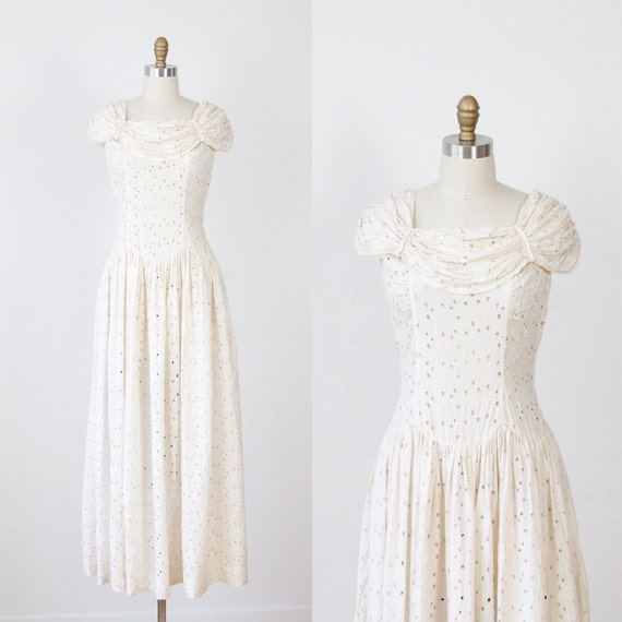 1940s Cream SIlk Embroidered Eyelet Wedding Dress VIntage