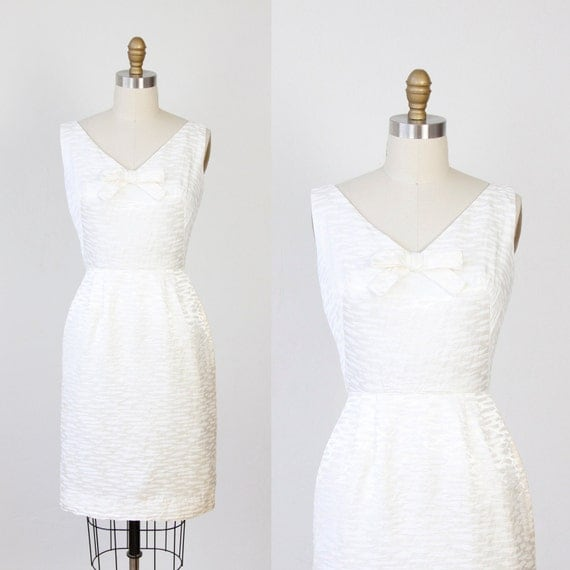 1960's White Wiggle Dress Cocktail Party Bow