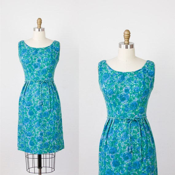 Green and Blue Impressionist Floral Wiggle Dress
