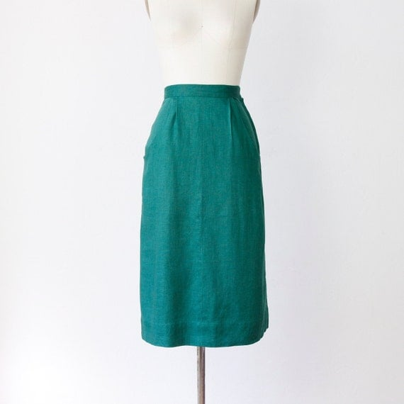 1940 s green pencil skirt with pockets