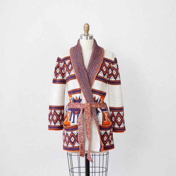 Southwest Blue & Orange Belted Cardigan Sweater