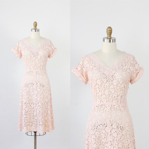 Pale Pink Lace Dress with Tulle & Rhinestone Neckline