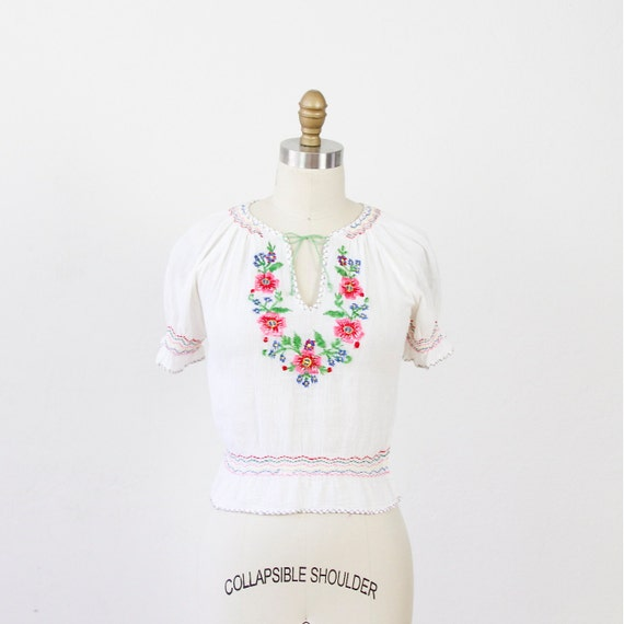 White Gauze Top with Floral Embroidery India