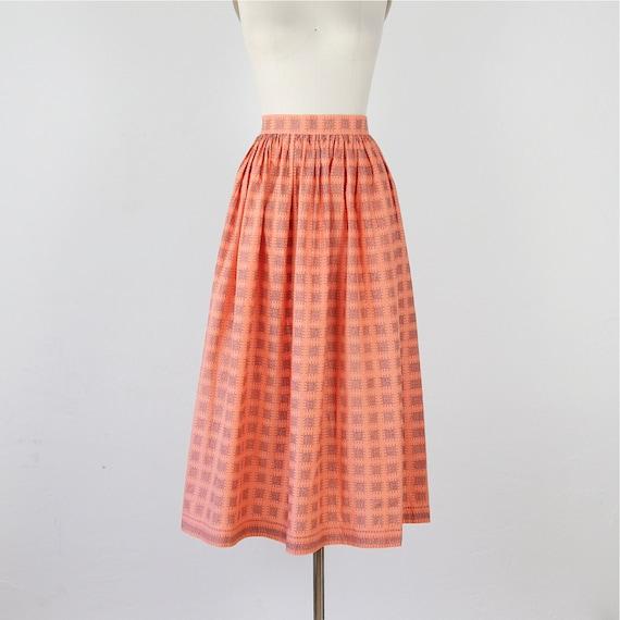 Long Apricot Vintage Cotton Apron Skirt