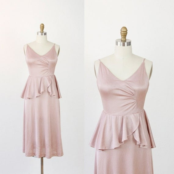 Shimmery Pale Pink Peplum Party Dress