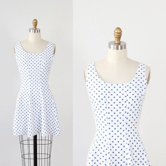White with Blue Polka Dot Mini Sun Dress