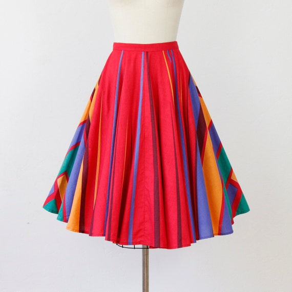 Full Skirt Red Rainbow Stripe Triangle