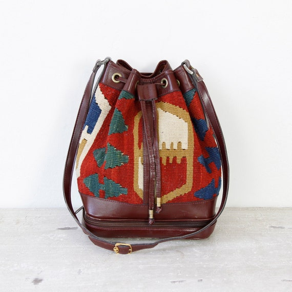 Maroon Leather Kilim Woven Textile Drawstring Bag