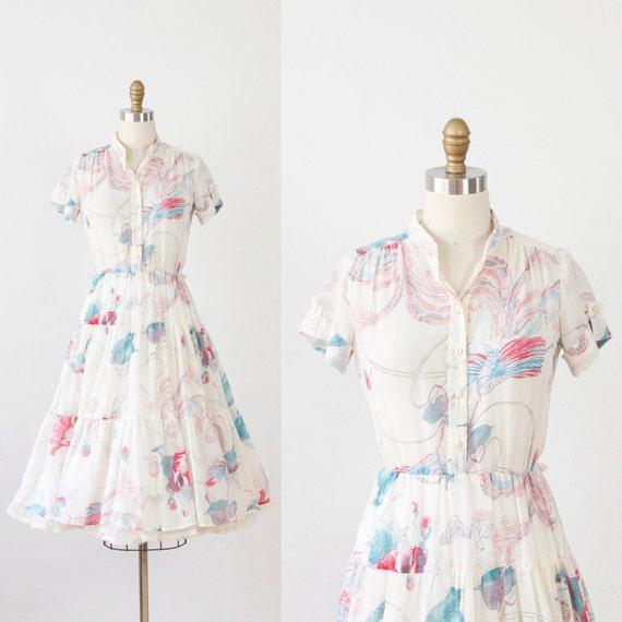 Whimsical Print Ivory Sheer Full Skirt Day Dress