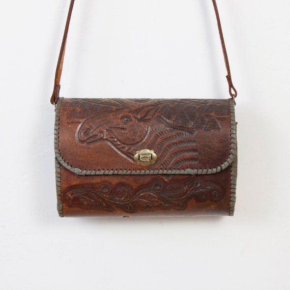 Dark Brown Tooled Leather Moose Bag