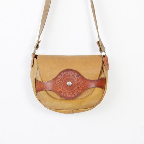 Tan Tooled Leather Cross Body Satchel Bag