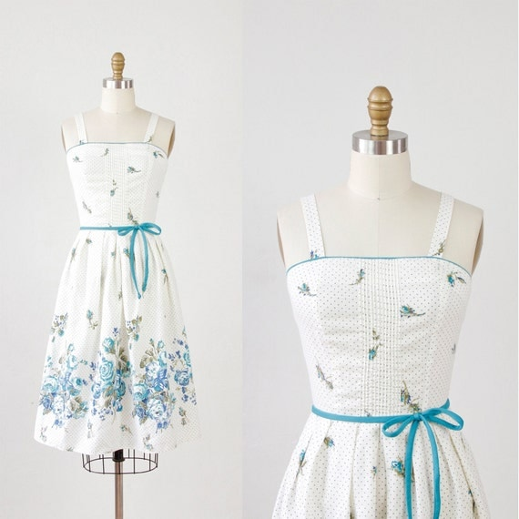 Cream & Blue Floral and Dot Dress with Pleated Skirt