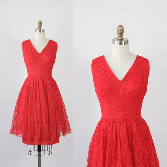Red Lace Dress Cocktail Party Peplum Full Skirt 1960s