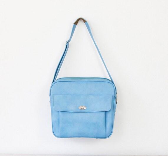 Blue Vinyl 1960s Vintage Weekender Bag