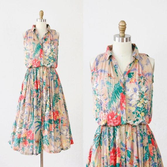 Taupe Voile Bright Floral Print Dress