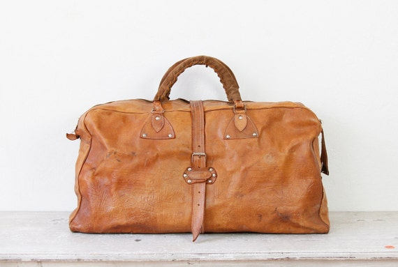 Caramel Leather Travel Satchel Bag Large Vintage