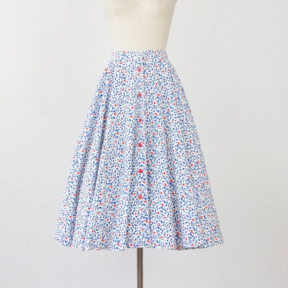 Navy and Red Abstract Print Full Circle Skirt