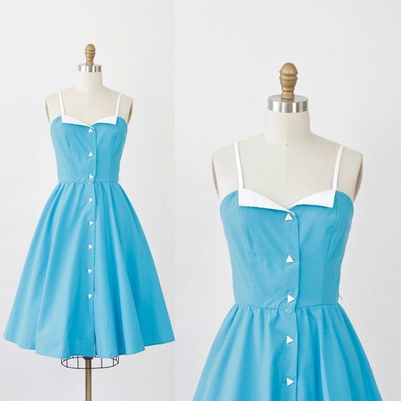 Blue and White Collared Triangle Button Dress
