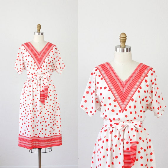 Red Polka Dot and Stripe V Neckline Day Dress