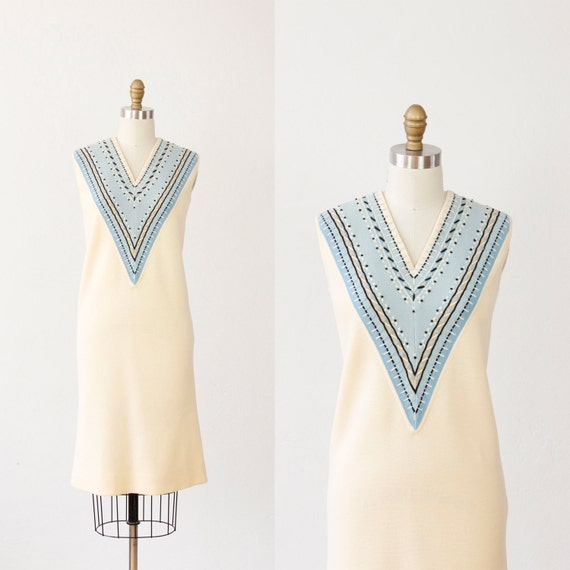 Cream with Blue Knit Embroidered Shift Dress