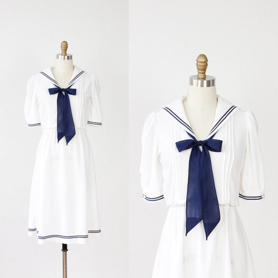 Sailor Dress White with Navy Blue Bow