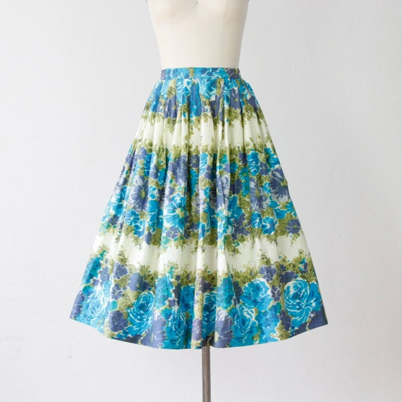 Green and Blue Floral Print Full Skirt