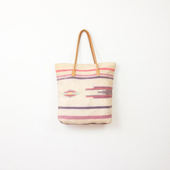 Ethnic Cream and Pink Kilim Textile Tote Bag