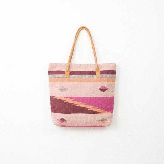 Ethnic Pink and Burgundy Kilim Textile Tote Bag