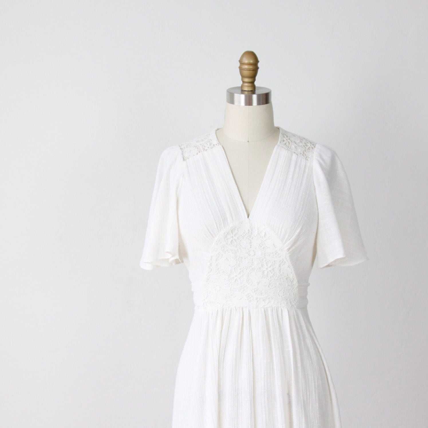 bohemian wedding dress white cotton gauze lace by salvagelife With gauze wedding dress
