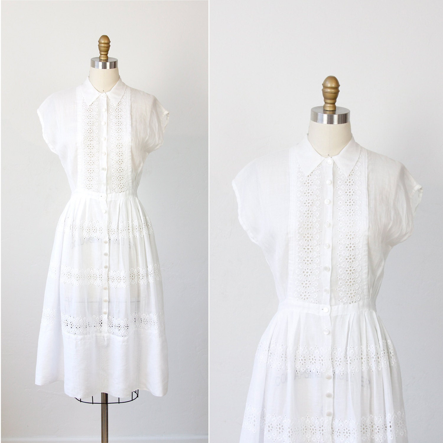 White Eyelet Dress Sheer Cotton Voile 1950s by salvagelife