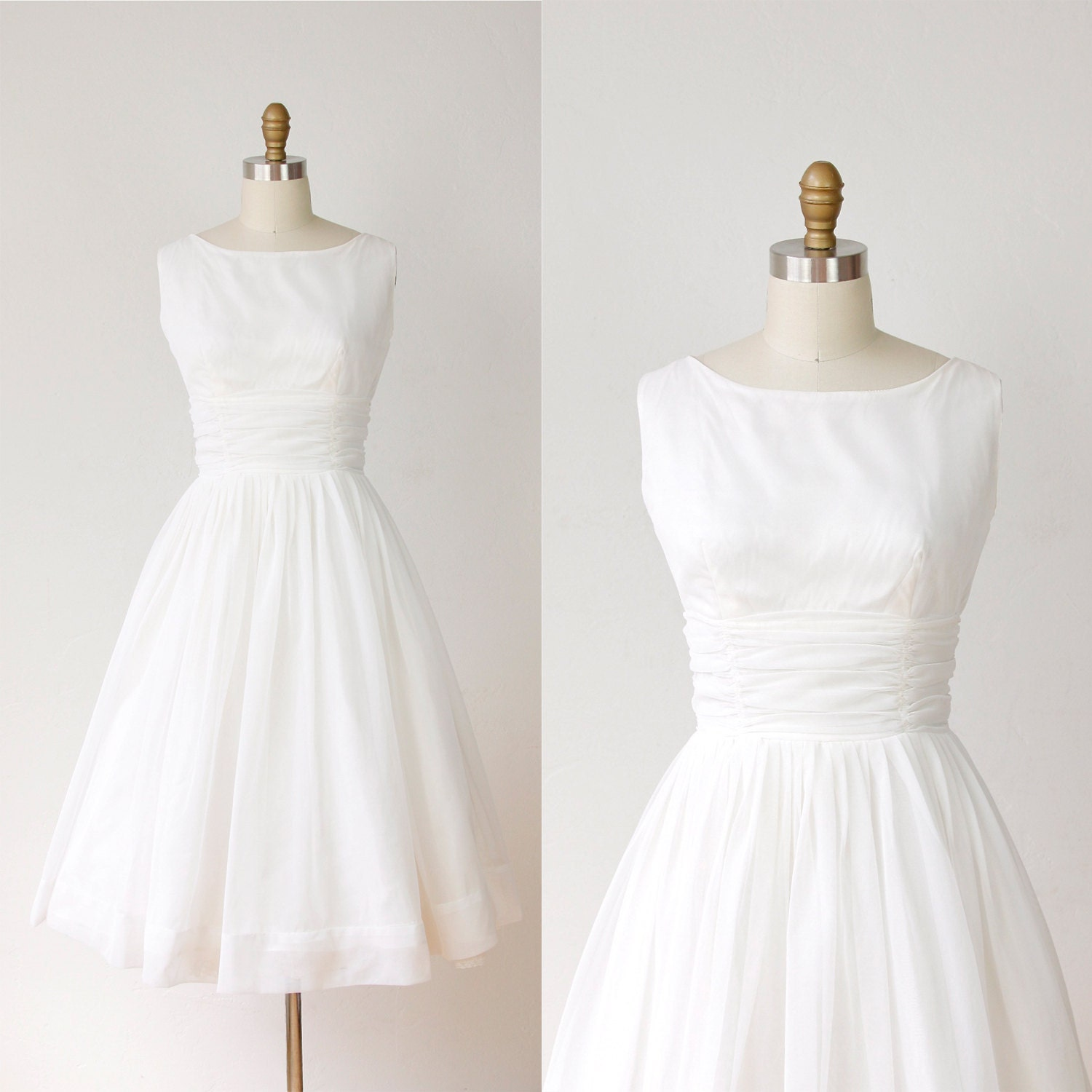 1950s full skirt wedding dress white chiffon vintage for Full skirt wedding dress