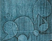 Studio Sale --Blue Punctuation -- 5 x 5 inch Collograph