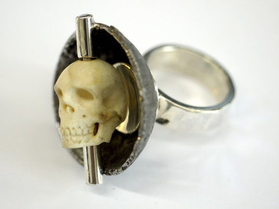 Sterling Silver, Iron and carved antler Kinetic Skull Ring