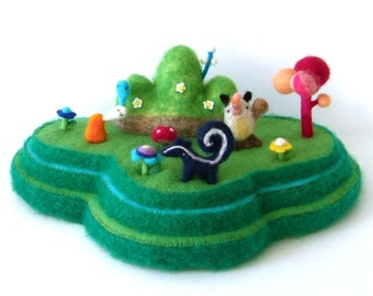 green mountains. needle felting, soft sculpture, One of a kind, Made from felt and wool