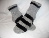Men Gray and Black Stripe Sock Slipper Shoe Size10-11
