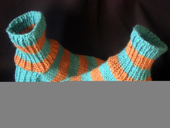 Boys Blue and Gold Hand Knitted Sock Slippers in Men Shoe Size 6 to 7